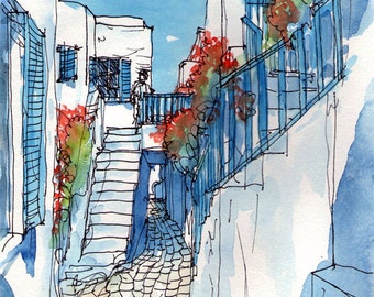 Mykonos Street Flowers Greece art print from an original watercolor painting