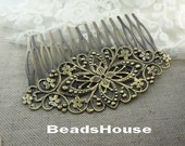 20pcs - 20% off   High Quality Antique Bronze Plated  Filigree Hair Comb With 14 pins,Nicket Free