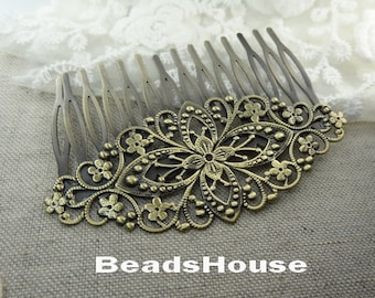 2pcs - High Quality Antique Bronze Plated  Filigree Hair Comb With 14 pins,Nicket Free