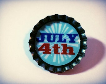 July 4th Pin, Fourth of July Pin, upcycled bottle cap pin, button, red white and blue american pin
