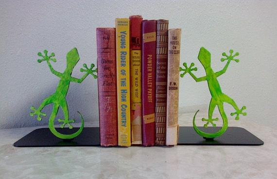 Gecko Metal Art Bookends Hand Painted