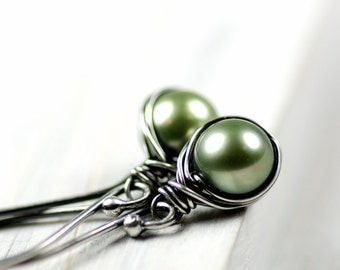 Sage Spring Green Freshwater Pearls Wire Wrapped Earrings on Oxidized Sterling Silver