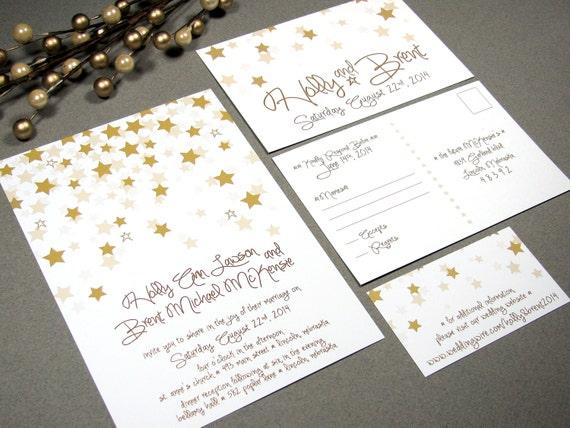 Star Wedding Invitations: Falling Stars Wedding Invitation Set By RunkPock Designs