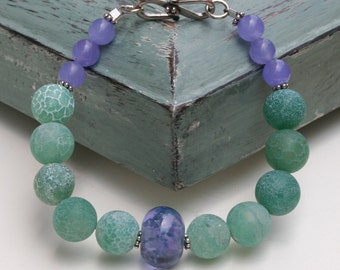 Purple Lampwork Green Glass Purple Amethyst Beaded Bead Work Boho Earthy Sterling Silver Bracelet