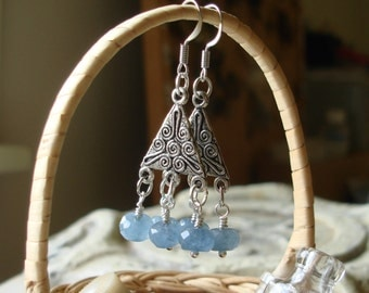 Oxidized Silver Embossed Triangles and blue apatite bead Earrings   C 12-4