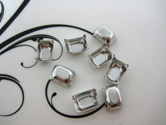 8x6 Silver Prong Octagon Rhinestone Setting No Ring Qty 144