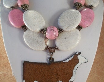 Cowgirl Necklace Set - Chunky Pink and White Howlite Turquoise with a Hereford Show Heifer Pendant