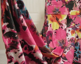 """Ladies' PINK Tropical Hawaiian Floral Print Stretch Poly Spandex Knit Jersey Maxi Skirt for Missionary, Travel or Leisure, S/M, 36"""" long"""