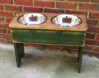 Distressed Raised Dog Bowl Shabby  Stand  Two Tone- 12'' Tall - Two 3 Quart Bowls