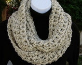 Oatmeal Infinity Scarf Loop Cowl, Natural Beige Light Brown Tweed, Thick Soft Wool Blend, Handmade Crochet Knit Winter Circle, Color Choices