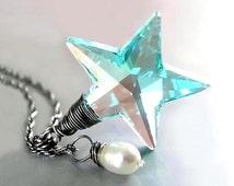 Seafoam Blue Star Necklace RARE Vintage Swarovski Teal Green Blue Crystal Star Pendant Necklace Sterling Silver