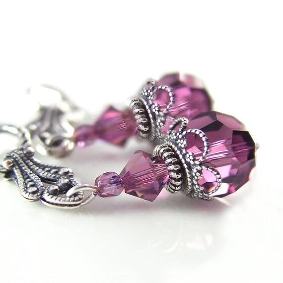 Amethyst Crystal Earrings Swarovski Purple Crystal Earrings Antique Silver Earrings February Birthstone