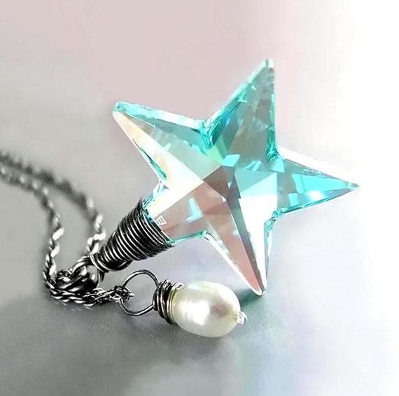 Seafoam Blue Star Necklace RARE Vintage Aquamarine Swarovski Teal Green Blue Crystal Star Pendant Necklace Sterling Silver