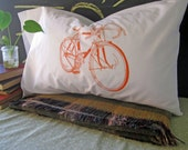 Screen Printed Pillow Cases - Set of 2 Standard Sized Pillow Covers - Eco Friendly Bedding - Road Bike - Bicycle - Handmade - Cotton Bedding