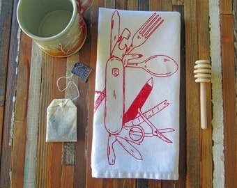 Cloth Napkins - Screen Printed Cloth Napkins - Eco Friendly Dinner Napkins - Pocket Knife - Table Setting - Camping - Cotton Cloth Napkins