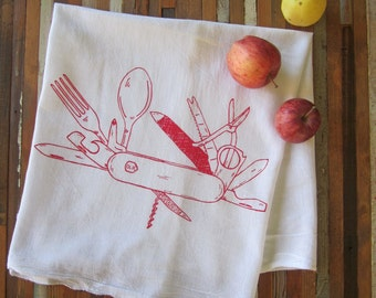 Tea Towel - Screen Printed Flour Sack Towel - Absorbent Kitchen Towel - Handmade - Camping - Pocket Knife - Eco Friendly Cotton Dish Towel