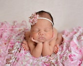 Pink Floral Ruffle Stretch Fabric Wrap Layer Newborn Photography Posing Prop