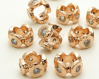 ME-177-RG / 2 Pcs - Stone Age Rough CZ Rondele Bead, Rose Gold Plated over Brass / 10mm