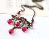 Celtic Necklace with Crimson Gemstones Chandelier Wire Wrapped in Antique Brass, Elegant Gemstone Necklace