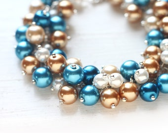 Beach Wedding Blue and Gold Bridesmaid Jewelry Pearl Cluster Bracelet - Summer Wedding in Aqua, Gold and White