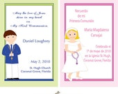 Prayer card or Recordatorios for First Communion, Baptism, party favors religious, Primera comunion, boy and girl