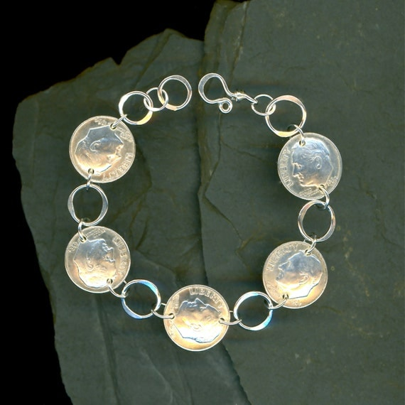 1964 Silver Dime Coin Bracelet 50th Birthday By WvWorksJewelry