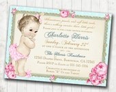 Girl Baby Shower Invitation Shabby Chic Floral Vintage Baby Shower Invitation For Girl - roses and gold - FREE SHIPPING DIY Printable