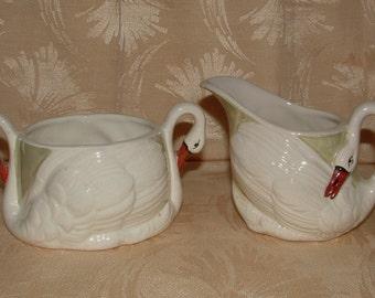 Vintage Swan Sugar & Creamer - Luster - Czechoslovakia