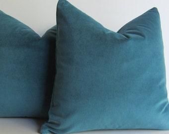 Velvet Pillow Covers - 20 inch - designer quality - TWO - teal velvet - Pindler - medium weight velvet -  ready to ship