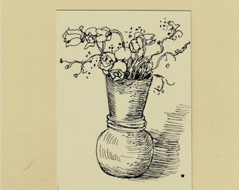 Roses ACEO Original Pen Drawing ,Flowers in vase,Original art,ATC,small artwork,floral,plant,botanical,by artist Patty Fleckenstein
