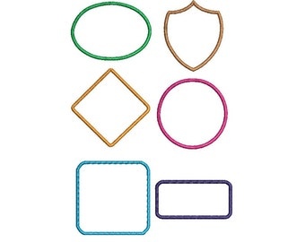 Applique shapes machine embroidery designs, set of 6