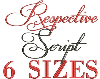 INSTANT DOWNLOAD Respective Machine Embroidery Font Set Includes 6 Sizes