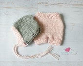 Beautiful Knit Bonnet and Short Set for Baby in Pale Pink, Newborn Photography Prop