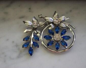 Blue Floral Rhinestone Brooch