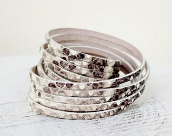 Snakeskin  Print Leather Double Wrap Bracelet in Brown Tones