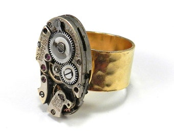 STEAMPUNK Ring, STATEMENT Cocktail Ring, Antique Watch Movement, Etched 14K Gold Plate Band, Steampunk Jewelry by Compass Rose Design