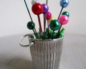 Garden Pendant Thimble Sewing Charm Spring Flower Pot Easter- 1.5 inches