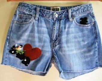 Cutoff Jean Shorts Upcycled Victorian Bird Lace Embellished Rocker Boho Denim - Size Small
