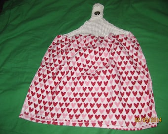 Hand Knitted Top Kitchen Towel - Valentine  Hearts  - New