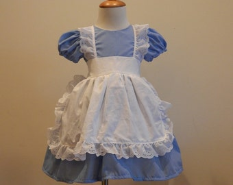 Blue and White Alice in Wonderland Syle Puff Sleeve Dress