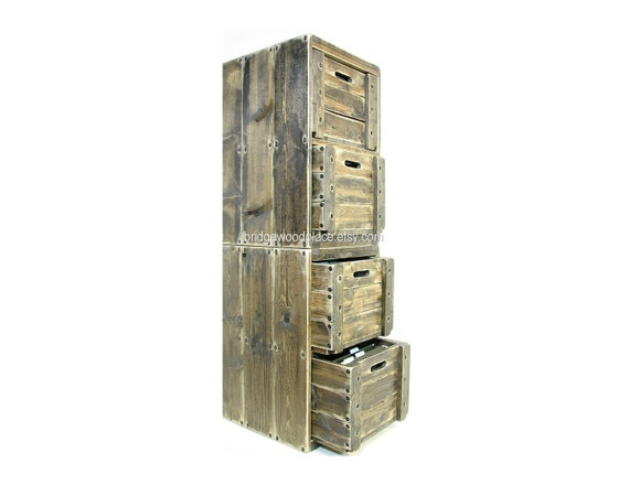 Filing Cabinet 4 Drawer Solid Wood Office File Cabinet Wooden Crate