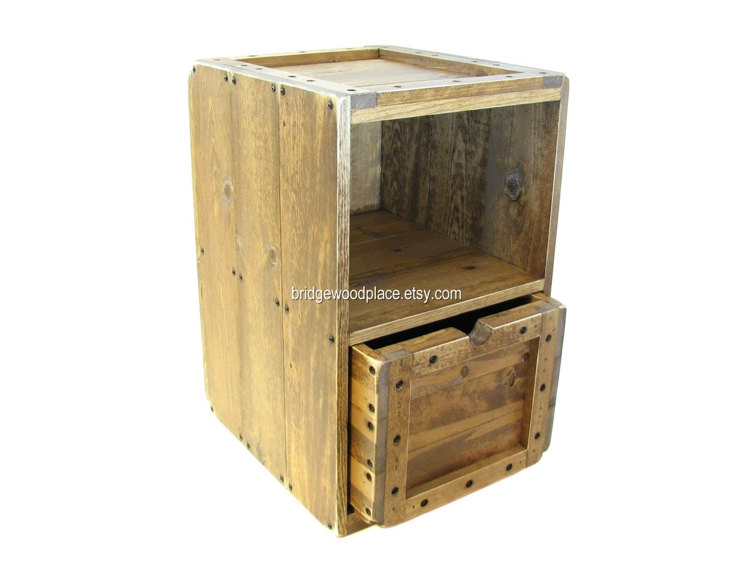 Side Table Wood Crate Furniture Solid Wooden By Bridgewoodplace