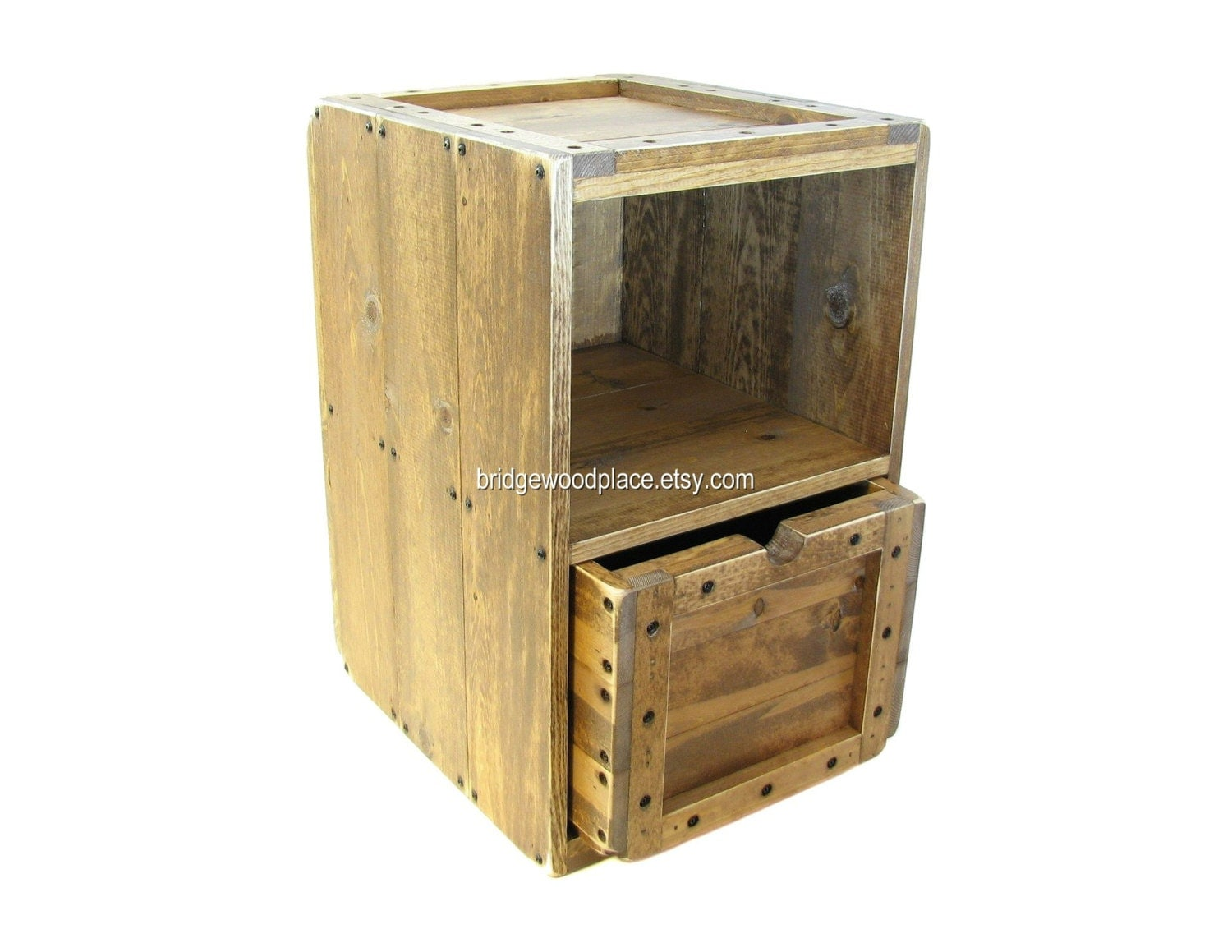 Side table wood crate furniture solid wooden by bridgewoodplace Wooden crates furniture