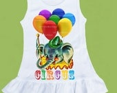 Ruffle bottom, Girls Dress, Circus Elephant, Balloons , baby girls clothes OR ANY design by ChiTownBoutique.etsy