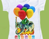 Birthday Shirt, Circus Birthday, Baby Elephant, Toddler Tees, Girls Boys T-Shirt Birthday Circus Elephant  Balloons Circus One Piece Baby