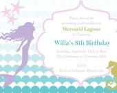 PRINTABLE Under the Sea Mermaid Birthday Invitation DIGITAL FILE