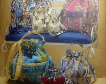 Sewing Pattern Drawstring Bags Purses Handbags 2007 Faith Van Zanten Uncut Totes 3 Sizes