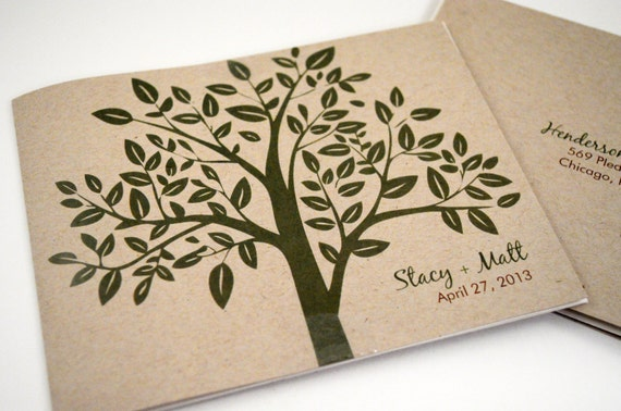Tree Wedding Invitation, Rustic Earthy Invitation, Seal N Send Tri-fold Invite with Perforated RSVP Postcard