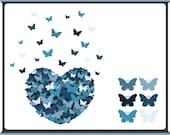 Butterfly Heart - Digital Clip Art - Eternity Blue - Instant Download