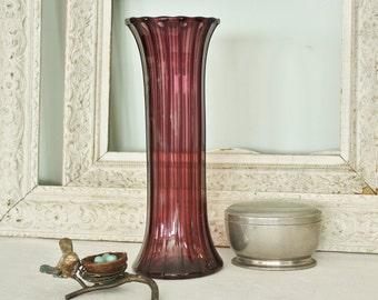 Vintage Blown Fluted  Amethyst Art Glass Vase     SALE - was 158.00